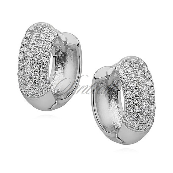 6caad977341262 10063 - Srebrne kolczyki pr.925 koła z cyrkoniami - - Biżuteria ...