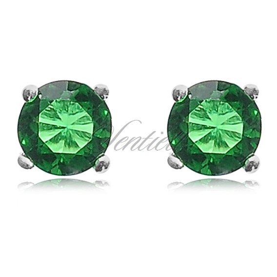 7b64262eeefd28 3627 - Srebrne kolczyki pr.925 Cyrkonia okrągła średnica 4mm zielona ...