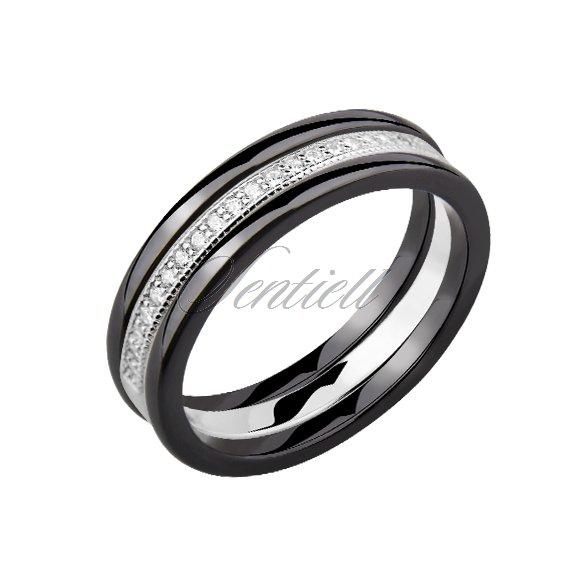 3c76e4bd14e0 ... Dwa czarne pierścionki ceramiczne i pierścionek srebrny z cyrkoniami ...
