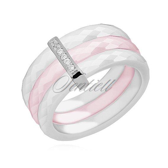 40266e0d97e1 11763 - Potrójny pierścionek ceramiczny biały i różowy ze srebrnym ...